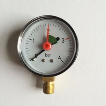 63mm General Dry Water Pressure Measuring Bottom Mount 4Bar Gauge With Red Pointer