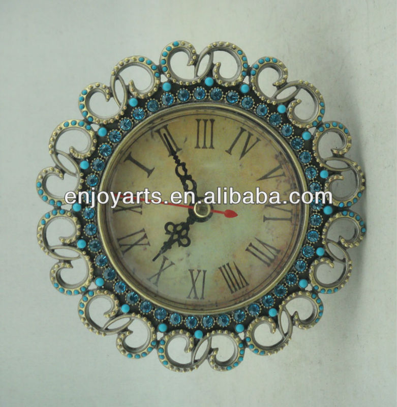 antique round diamond metal table clock(P03029a)