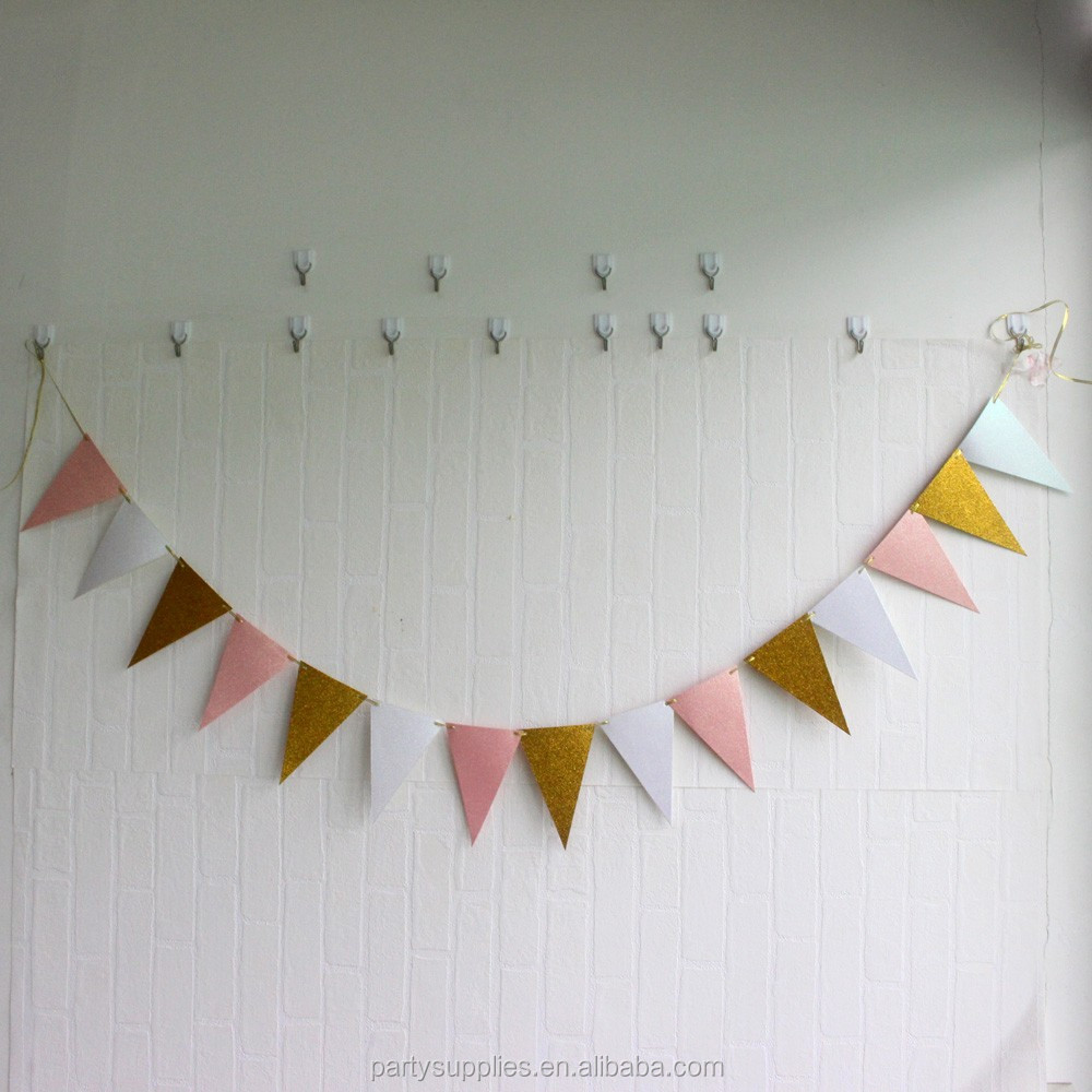 8.5 Feet Vintage Style Pennant Banner Paper Triangle Flags Bunting for Wedding, Baby Shower, Pink+White+Champagne Gold Glitter
