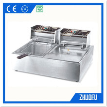 Double tanks industrial restaurant deep fryer