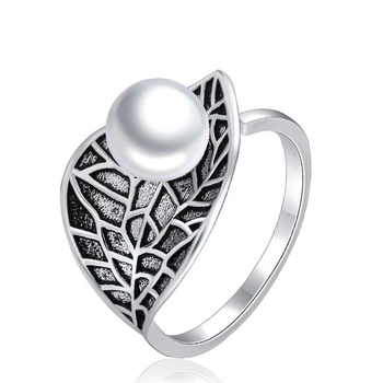 Hot selling vintage silver  leaves inlay pearl ring jewelry wholesale wedding rings for women