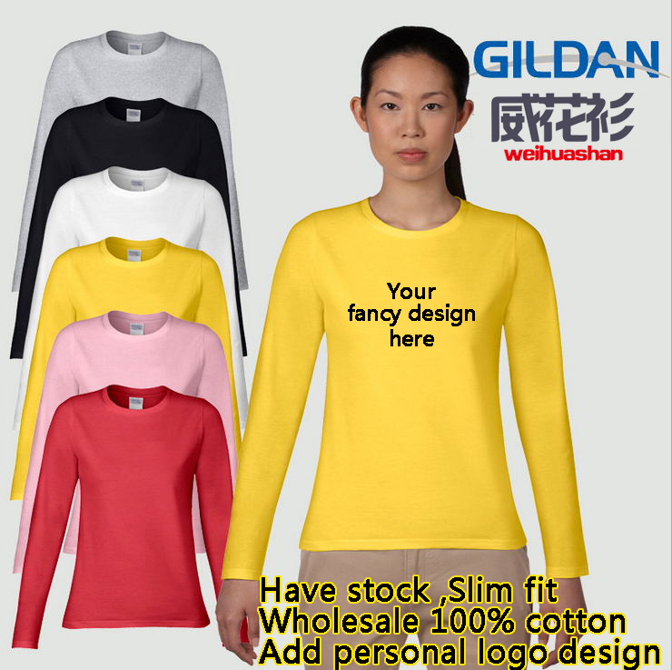Wholesale 100% cotton Shirts for women Gildan 180grams Long sleeve Slim fit Have stock custom Tshirt