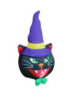 120cm/4ft inflatable black cat with hat on the ground for Hallowen decoration