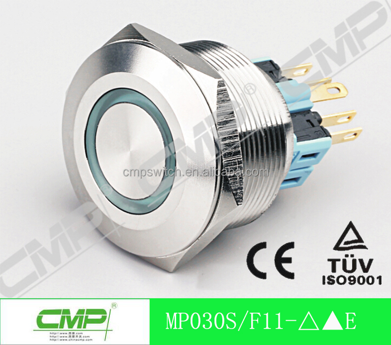 CMP diameter 30mm Installation hole led illuminated stainless steel push button switch , flat head with ring lamp