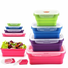 Reusable Square Silicone Collapsible Bento Food Storage Lunch Box With Lid Set of 4