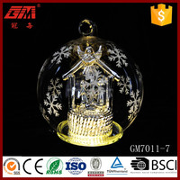 yangzhou produce clear glass ornament christmas ball with led light