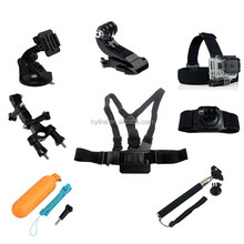Go pro Accessories 9 in 1 Kit Chest+Head Strap+Floating Grip +Handlebar Seatpost+Monopod+Suction Cup For Go Pro He ro 4 1 2 3 3+