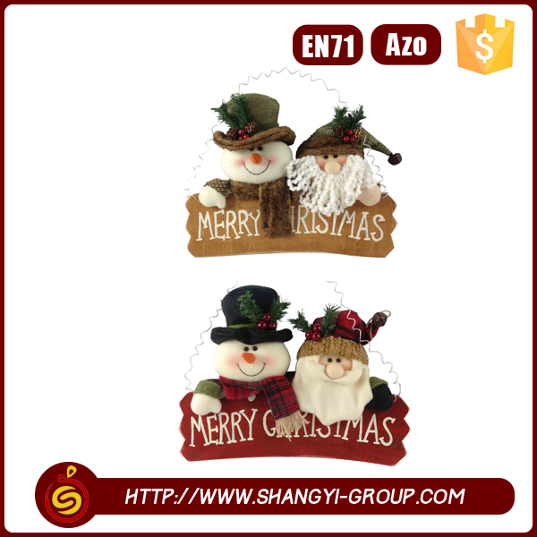 Christmas decorative hanging snowman and santa claus dolls with writing merry christmas