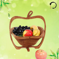 Foldable Bamboo Fruit Basket With Apple