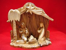 nativity crib/olive wood Modern Nativity with Holy Family statue/wooden manager nativity