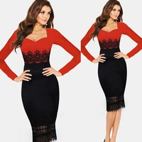 Clothes waslon factory Lace Crochet Tunic Business Party Evening Prom Fashion Sei Night Dress 20133