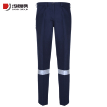 blue cotton twill reflective work pants for man with thigh pocket