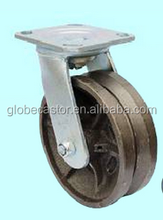 150mm,200mm V groove heavy duty industrial cast iron roller bearing swivel type caster wheel ,caster and wheel