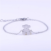 Adjustable stainless steel bracelet silver bear jewelry for women