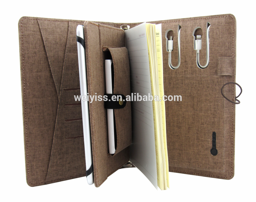 2017 New arrival Natural Linen power bank folder with phone pocket and tablet PC holder notebook