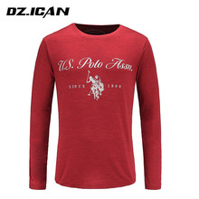 Custom 100%Cotton Red Blue And Gray Offset Printing Long Sleeve T Shirt For Men