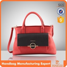 5080- Fashion red Crossbody shoulder purse handbag with front clasp closure and chain long strap woman bag