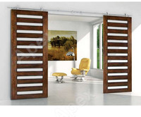 Simplicity Modern style sliding wood barn door grill door design Barn Door with glass