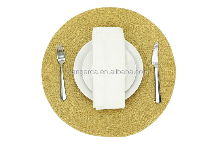 Sparkle Solid Round Gold Table Placemats