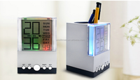 Classical design LCD indoor weather station desk table alarm clock with pen holder pen holder clock
