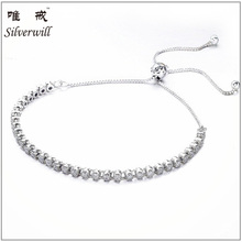 925 sterling silver high quality CZ tennis bracelet adjustable size