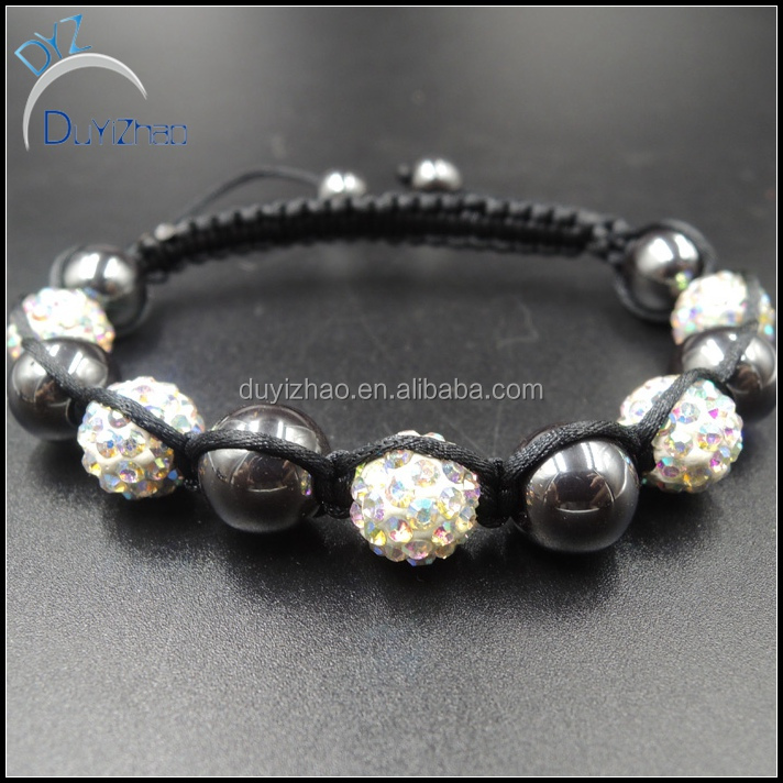 Charming & Handmade rope Fashion skull shamballa bracelet with crystal