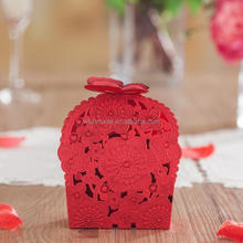 Red Laser Cut 3D Butterfly Favor Box/wedding souvenirs candy box /gift box CB6020 Match invitation card CW6020