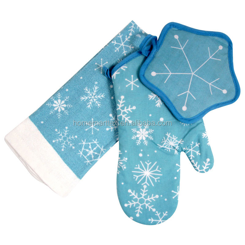 printed cotton kitchen towel set pot holder oven mitten alibaba china supplier christmas kitchen set