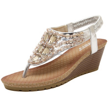 New Summer 2016 Beaded Rhinestone Wedges Sandals Women's High-Heeled Platform Summer Shoes