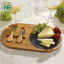 Bamboo and slate cheese board Set with 2 knife wholesale