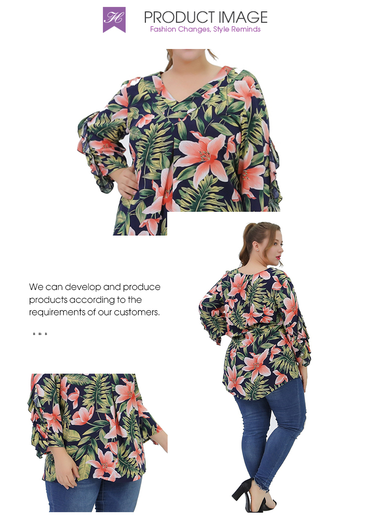 2019 new ruffle sleeve summer plus size women clothing  ladies blouse &tops