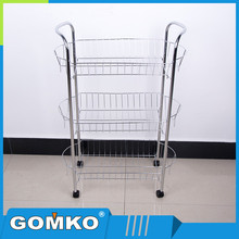 3 tier stainless steel wire shelving food Cart kitchen accessories metal storage kitchen trolley shelf
