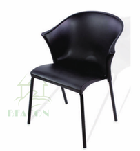 black leather long legs dining chair