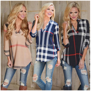 AL2655W Latest design women blouse v neck three quarter sleeve plaid shirt tops fashion lady clothing