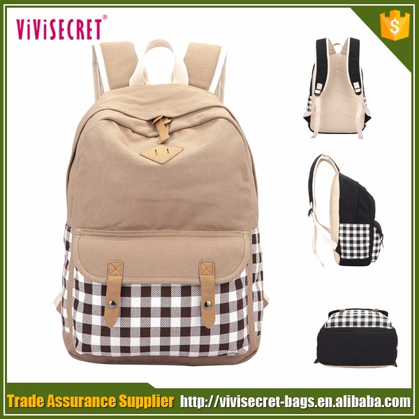 Quick lead canvas soft material women trendy bagpacks university back pack cute stylish used college backpack