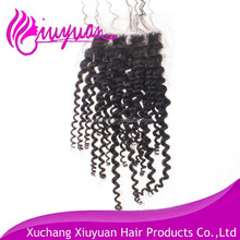 Factory Cheap Best Quality Kinky Curl Brazilian Virgin Human Hair Closure 4*4 lace closure