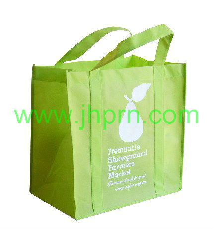 Rabbit printed lime green shopping bag made by NWPP