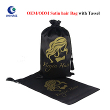 Luxury Printed Black Gift Drawstring Pouch Dust Shoe Lingerie Satin Hair Extension Bag With Tassel Logo Printing