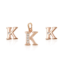 64059 Fashion women jewelry letter shaped simple designs two pieces jewelry set