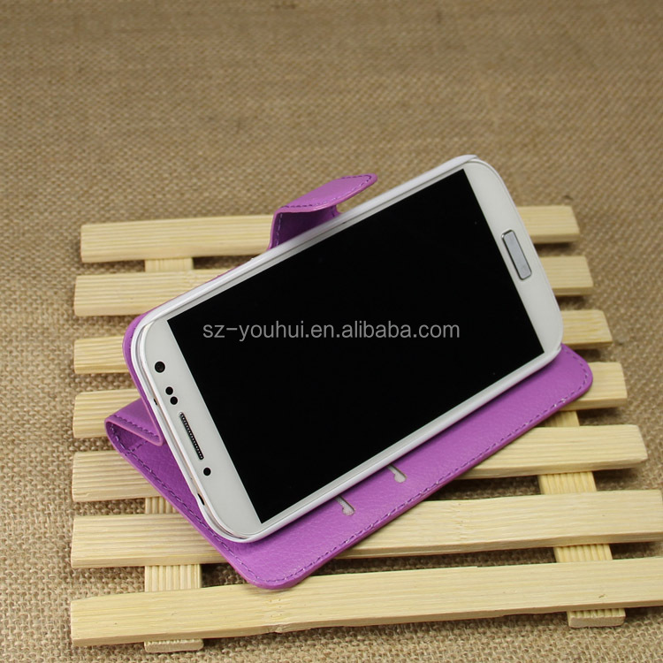 Factory Price Lichee Leather Pouch Wallet Case Folio Stand Cover for Samsung GALAXY S4 i9500