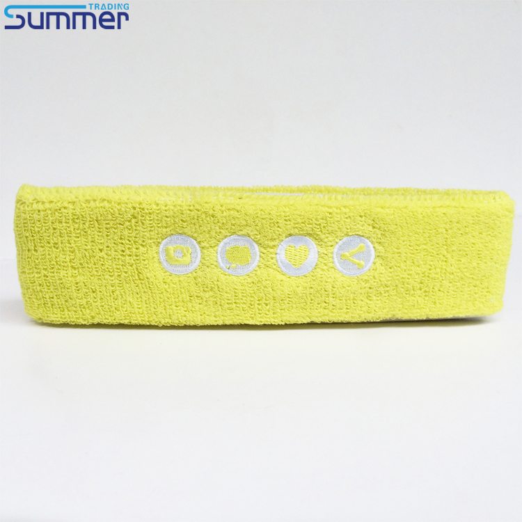 Custom White Embroidered Tennis Sports Cotton Yellow Headband/Sweatband
