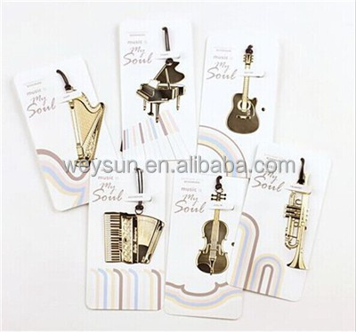 musical instrument bookmarks Fasion Paper Marks Originality Metal Bookmarks Bookmark The Classical