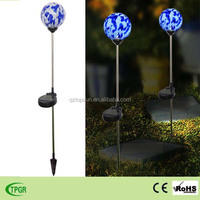 Mosaic glass ball with solar light for garden ornaments