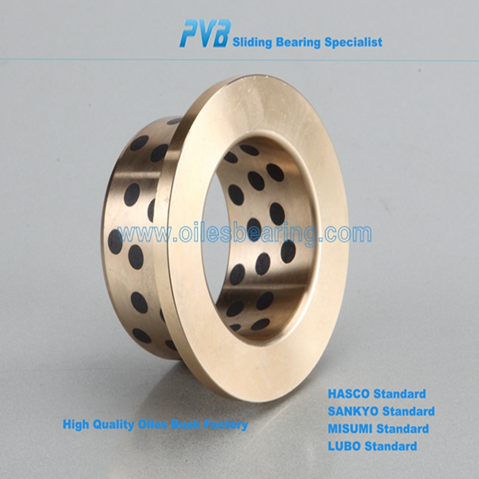 Cusn12 sliding bearings, oilless flange giude cast bronze bushing,graphite plugged slide guide bearing