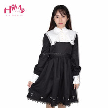 Japanese Lolita Female Vintage Dress For Cute Girl Embroidery Cross-Shaped Long Sleeve Vestidos Customes Cosplay Dress Black