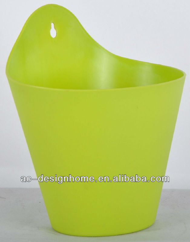 MATT LIME GREEN THIN RIM HALF ROUND PLASTIC PLANTER