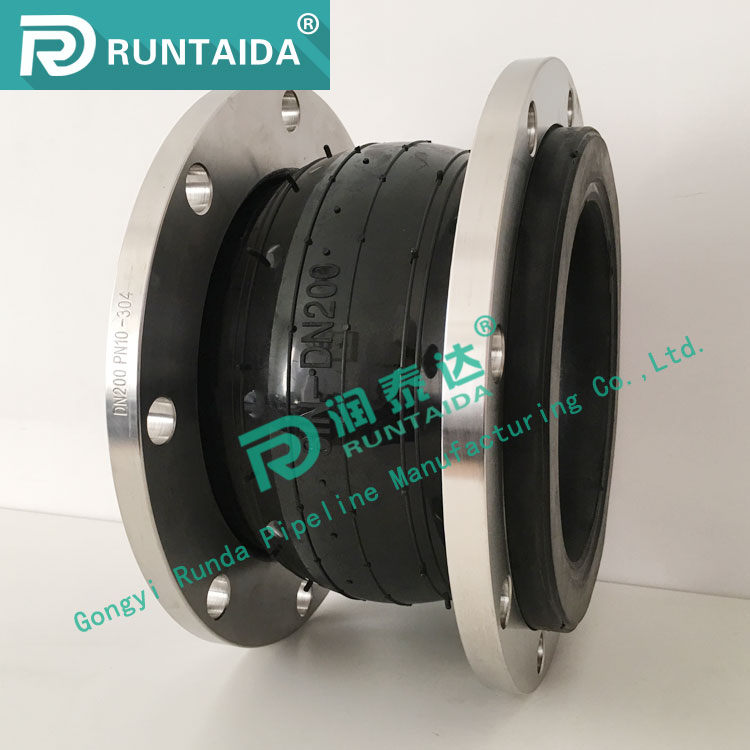 Custom single sphere flanged rubber expansion joint