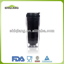 350ml DIY plastic high grade promotional travel coffee mugs with changeable insert paper transparent out wall