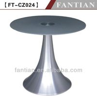 newest glass top metal aluminum alloy base dining round table/coffee table/restaurant table