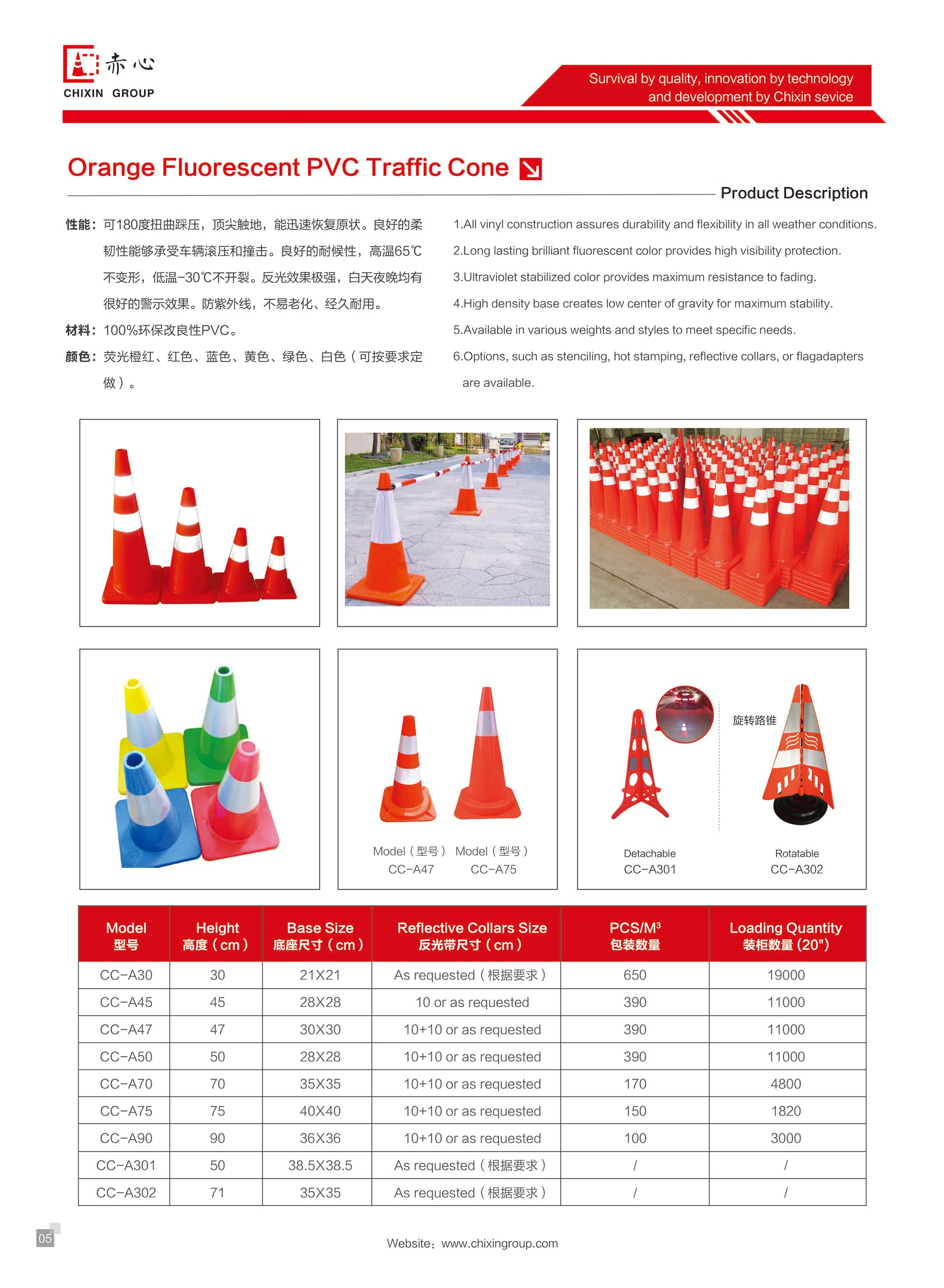 Chixin New design 36 inch pvc road safety cones/warning cone